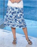 Lace Trim Linen Look Skirt