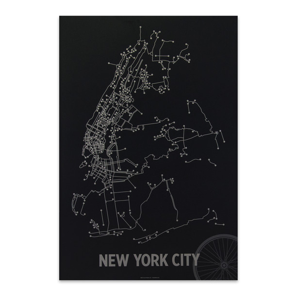 NYC Bike Map Black