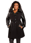 Ponte Faux Leather Coat