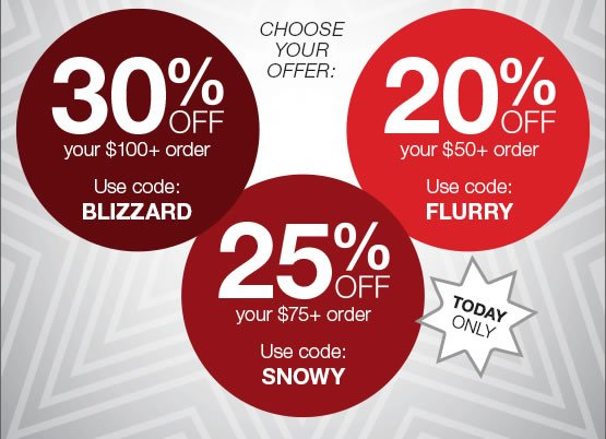 Choose your offer: 30% off $100, use code BLIZZARD. 25% off $75, use code SNOWY. 20% off $50, use code FLURRY.