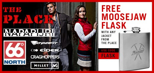 Free Moosejaw Flask with any jacket from the Place