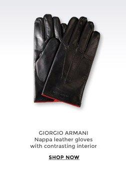 GIORGIO ARMANI - Nappa leather gloves with contrasting interior