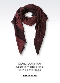 GIORGIO ARMANI - Scarf in modal blend with all over logo