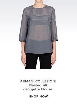 ARMANI COLLEZIONI - Pleated silk georgette blouse