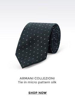 ARMANI COLLEZIONI - Tie in micro pattern silk