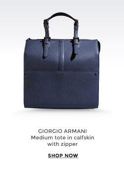 GIORGIO ARMANI - Medium tote in calfskin with zipper