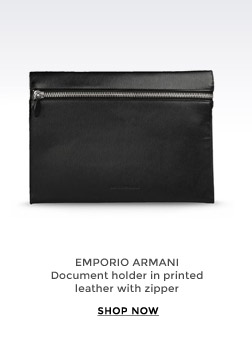EMPORIO ARMANI - Document holder in printed leather with zipper
