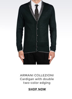 ARMANI COLLEZIONI - Cardigan with double two-color edging