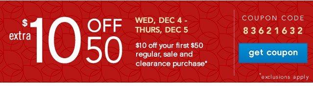 Extra $10 off $50. Get coupon.