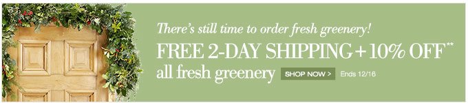 There's still time to order fresh greenery! | Free 2-day shipping + 10% off** all fresh greenery | Shop now > | Ends 12/16