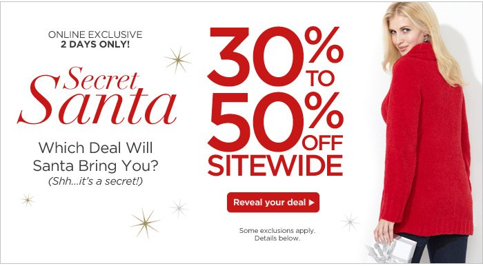 Shop the Secret Santa Sale online!