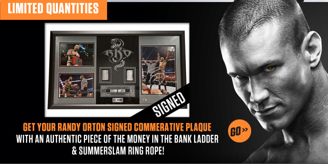 Randy Orton Signed Commemorative Plaque!