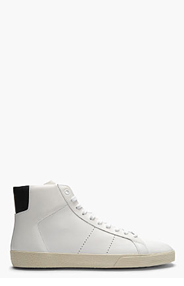 SAINT LAURENT White Leather Navy-Trimmed High-Top Sneakers for men