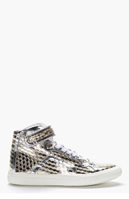 PIERRE HARDY Metallic Silver Patent Leather Cube Print High-Top Sneakers for men