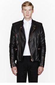 JUUN.J Black leather zippered biker jacket for men