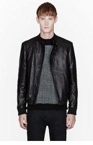 PUBLIC SCHOOL Black leather ribbed biker jacket for men