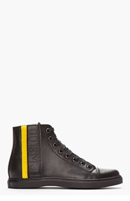 MARC JACOBS Black Leather Velcro-Trimmed High-Top Sneakers for men