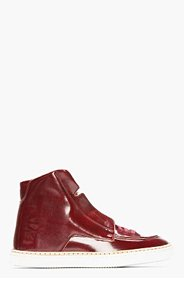 MAISON MARTIN MARGIELA Burgundy Patent Leather High-Top Sneakers for men