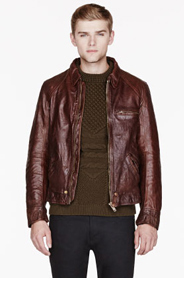 GOLDEN GOOSE Brown leather Giubbo Biker Jacket for men