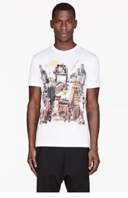 VERSACE White Collage City Print T-Shirt for men