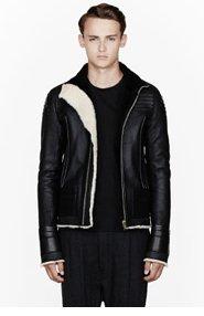 RICK OWENS Black leather & shearling slatted biker jacket for men