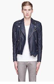 PIERRE BALMAIN Navy Blue buffed Leather Heavy biker Jacket for men