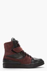 KRISVANASSCHE Black Bi-Color Leather High-Top Sneakers for men