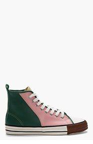 COMME DES GARÇONS HOMME PLUS Pink Leather Tri-Color High Top Sneakers for men