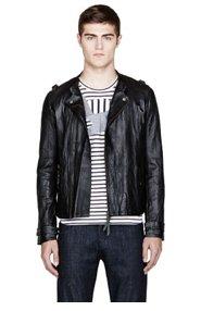 ROBERT GELLER Black washed leather fritz biker jacket for men