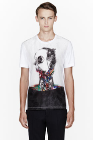 JUUN.J White Layered Holographic Robot t-shirt for men