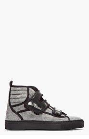 RAF SIMONS Black and white checkered metallic strap high-tops for men