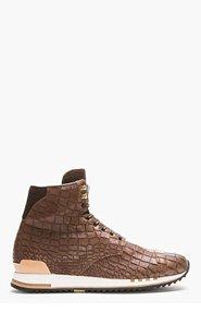ALEXANDER MCQUEEN Brown Croc-Embossed Leather High-Top Sneakers for men