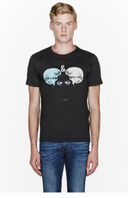 PAUL SMITH JEANS Washed black organic cotton Love Hate T-shirt for men