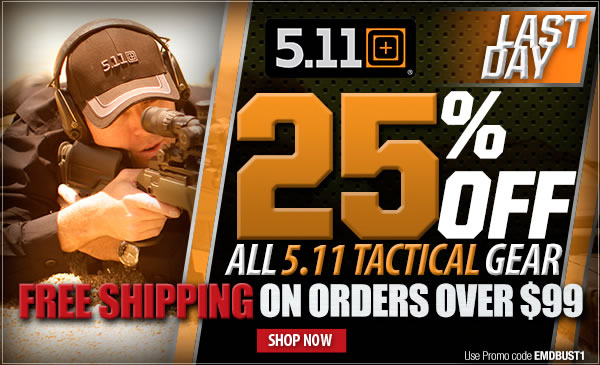 LAST DAY - 25 percent off 5.11 Tactical | 20 percent off Sitewide + Free Shipping On Orders Over 99 dollars