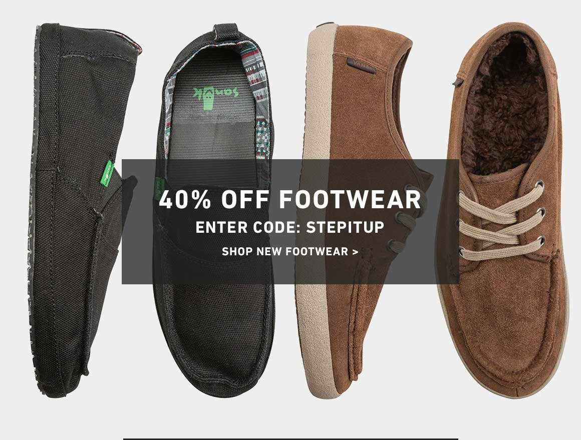 40% Off Footwear! Enter Code: STEPITUP