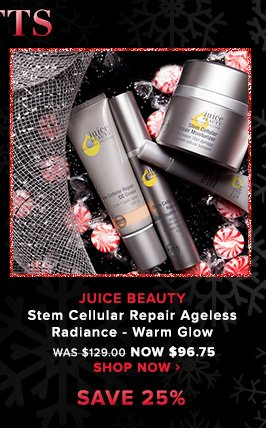 Certified Organic. USDA Organic. VeganJuice Beauty Stem Cellular Repair Ageless Radiance – Warm GlowA collection of advanced, organic formulas to visibly improve the appearance of mature skin. Was $129.00 Now $96.75Shop Now>>