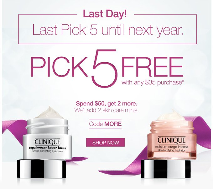 LAST DAY! Last Pick 5 until next year. PICK 5 FREE with any $35 purchase*. No code needed. SHOP NOW.