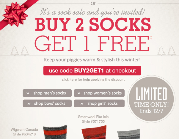 Buy 2 Socks - Get 1 Free!