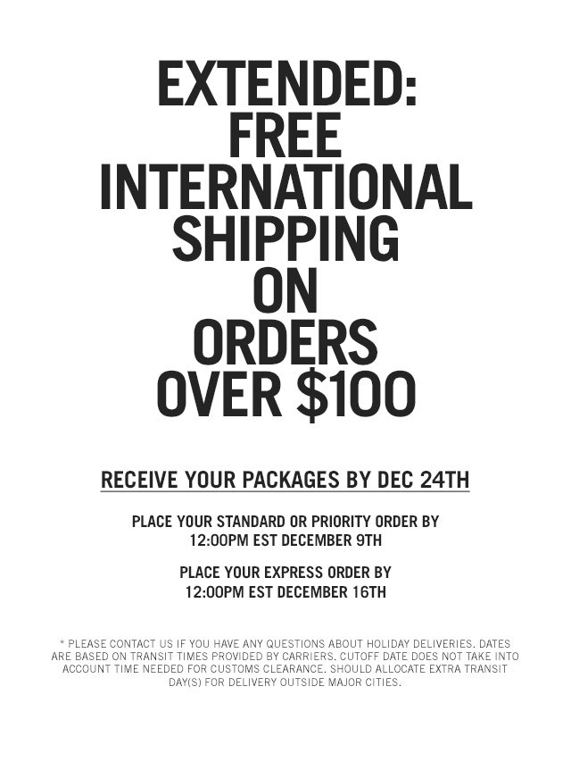 Free International Shipping On Orders Over $100