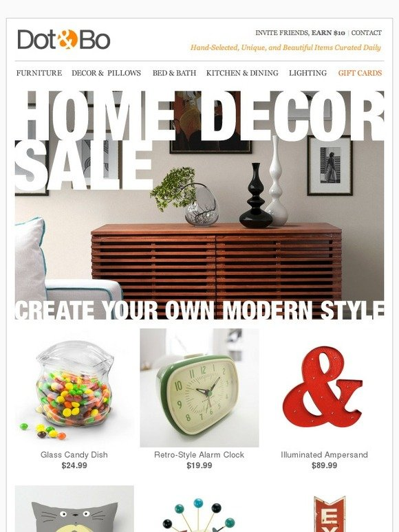 Dot bo home decor sale create your own modern style for Home decor 70 off