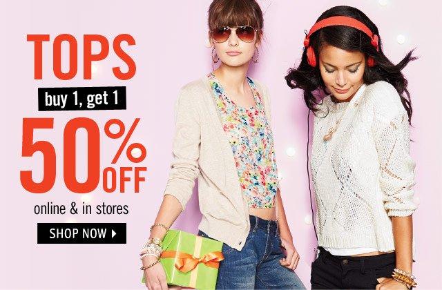 TOPS buy 1, get 1 50% off online & stores