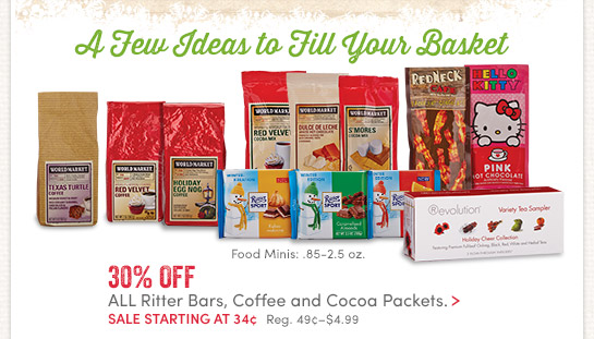 30% off All Ritter Bars, Coffee & Cocoa Mini's