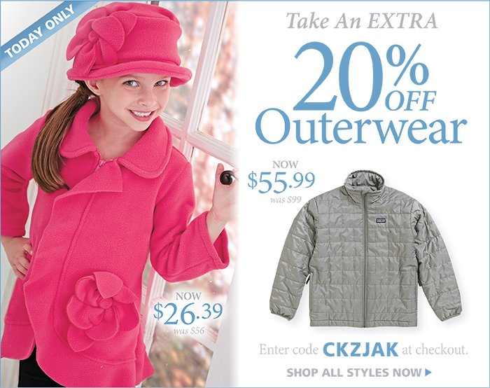 Take an extra 20% off select outerwear with code CKZJAK at checkout