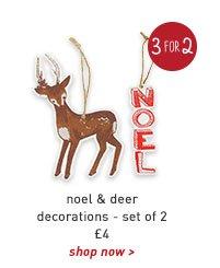 noel & deer decorations - set of 2