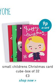 small childrens christmas card cube-box of 32