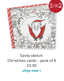 santa sketch christmas cards - pack of 8