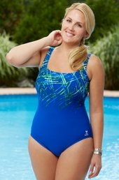 Plus Size Swimwear - TYR Streamers Aqua Controlfit 1 Piece - Blue $80