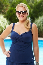 Plus Size Swimwear - TYR Separates Twisted Bra Tankini Top #TSTB7A - Navy $47