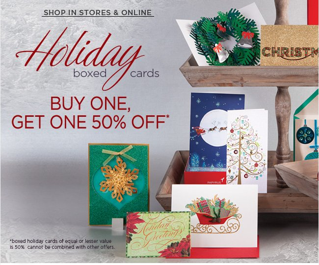 Boxed Holiday Cards 					Buy One, Get One 50% Off*