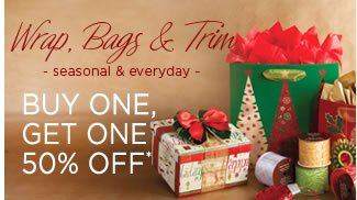 All Gift Wrap, Bags & Trim for Holiday & Everyday 					Buy One, Get One 50% Off